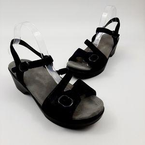 DANSKO Sandi Black Leather Strappy Comfort Sandals Buckles Size 42